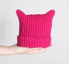 Gina Michele: Toddler Girl's Cat Ear Hat. Free knitting pattern. This easy cat ear hat works up quickly with 1 skein of Vanna's Choice and size 8 knitting needles. Cute idea for Halloween, or anytime!