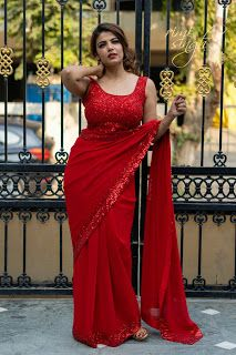 black plain georgette saree ready to wear custom made velvet red blouse womens wedding party wear sari sarees Beautiful Girl Indian, Most Beautiful Indian Actress, Beautiful Saree, Blouse Designs Catalogue, Indian Girl Bikini, Indian Girls, Beauty Full Girl, Beauty Women, Autumn Fashion Curvy