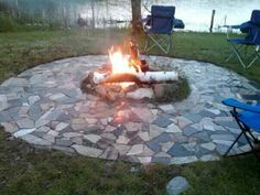 Fire pit ring created using the scraps of granite from my local flooring store