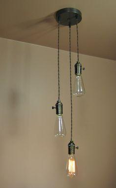 3 Light Chandelier - Cascading Pendant Lights with Edison Light Bulbs - Minimalist Home Decor. $209.00, via Etsy.