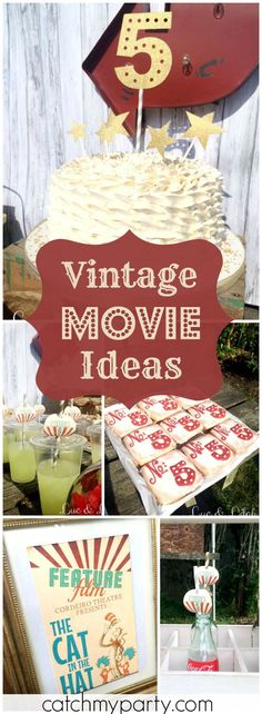 Luc & Lilah Events's Birthday / Vintage Movie Theater - Sophia's Outdoor Movie & Concessions at Catch My Party Vintage Movie Theater, Vintage Movies, Theme Parties, Party Themes, Party Ideas, 13 Birthday, 4th Birthday Parties, Movie In The Park, Vintage Party