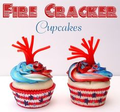 Fire Cracker 4th of July cupcakes