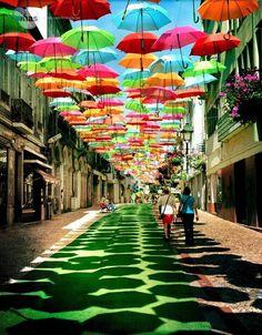 Agueda Portugal..  pedestrian walkways with umbrellas...