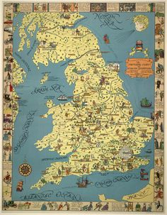 Pictorial map of British literature from the library of congress.