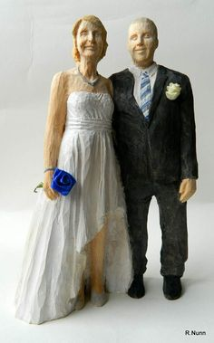 Awesome Brautpaar Figur aus Holz