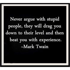 Never argue with stupid people? but what if there not arguing and there just talking up a stupid conversation?