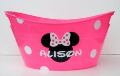 Personalized Minnie Mouse Storage Tub / Easter by RayneEDayCrafts, $10.00