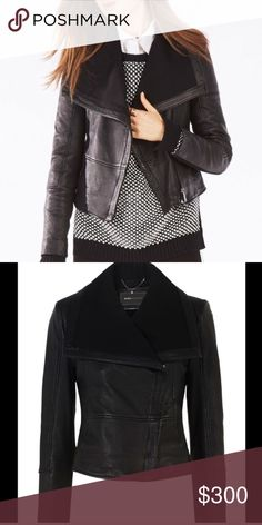 BCBGMaxAzria Annabel Leather Moto Jacket Brand New! This cool weather cover-up gets a rock n' roll makeover with tough chic leather. Pair the moto silhouette with anything from casual chic separates to tailored pieces.  Slash pockets. Front zipper closure. Shell: 1. Leather. 2. Rayon, nylon, spandex. Trim: Knit - cotton, polyester, spandex. Lining: 1. Cotton, nylon, spandex. 2. Polyester. Professional leather clean. BCBGMaxAzria Jackets & Coats