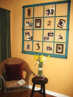 WALL ART: window frame, chicken wire and photos