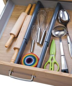 These separators neatly divide drawers into three distinct sections for ultimate organization. The spring-loaded dividers expand to accommodate longer drawers and feature nonskid ends to prevent slipping and sliding. Kitchen Drawers, Kitchen Items, Kitchen Gadgets, Kitchen Stuff, Kitchen Products, Kitchen Decor, Kitchen Cupboard, Cooking Gadgets, Kitchen Things