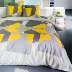 Adornment duvet cover + pillowcase, gray geometry / yellow