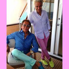 Valentino Garabani and Giancarlo Gianmetti Colourful day! Fendi, Gucci, Missoni, Very Valentino, Prada, Balenciaga Bag, Aqua Color, Valentino Garavani, Instagram Fashion