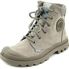 Palladium Palladium Pampa Cuff Wp Lux Women Round Toe Synthetic Boot ($72) ❤ liked on Polyvore featuring shoes, boots, ankle boots, grey, cuff ankle boots, cuffed boots, bootie boots, palladium boots and round toe boots