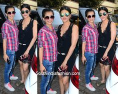 Shruti Haasan and Akshara Haasans Casual Look   Shruti Haasan and Akshara Haasan were snapped in casual western outfits. Shruti was seen in a black lace dress teamed with a pair of slip-ons.  Akshara donned a pair of ripped denims with a checkered shirt and slipped on to comfy white sneakers. Chic sunglasses completed their casual western looks.  The post Shruti Haasan and Akshara Haasans Casual Look appeared first on South India Fashion.  from South India Fashion…