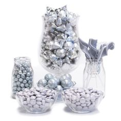 Silver Candy Buffet Ideas. Huge selection of assorted candy types, colors & containers - perfect for planning your candy buffet.