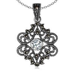 Bejewel.me ● Srebrna zawieszka z cyrkonią i markazytami ●http://bejewel.me/srebrna-zawieszka-z-onyksem-i-markazytami-690● #jewellery #silver #accessories #details #bejewelme #necklace #blingbling