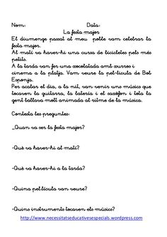 Llibre de lectures Valencia, Texts, Homeschool, Teaching, Khalid, Infants, Reading Comprehension, Catalan Language