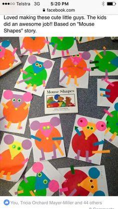 Preschool Books, Kindergarten Activities, Preschool Activities, Preschool Shapes, 2d Shapes Kindergarten, Mouse Paint Activities, Art Activities, Mouse Crafts, Shape Books