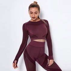 Hollow Out Seamless Yoga Set Sport Outfits Two 2 Piece - TD Mercado Bandeau Dress, Fashion Group, Women's Fashion, Red Shirt, Summer Dresses For Women, White Women, Sport Outfits, Fall Outfits, Long Sleeve Tops