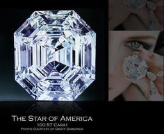 A rarely seen image of an extraordinary diamond - THE STAR OF AMERICA! At 100.57 carats, it is the largest Asscher cut D-color Flawless diamond in the world. Now owned by Laurence Graff.    Photo: From book by Marijan Dundek - 'Diamonds', courtesy Graff Diamonds