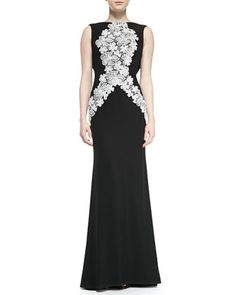 Sleeveless Floral Appliqué-Front Gown by Tadashi Shoji at Neiman Marcus.
