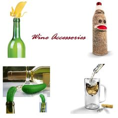 Check out our Wine Accessories! These make great gifts.    (Pictured left to right, top to bottom: Top Banana Wine Topper, Wine Monkey, Pickled Bottle Stopper, Winestein Stemware Mug.)