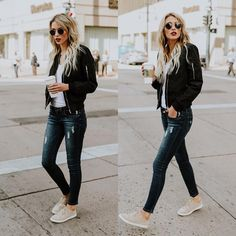 #fall #outfits black bomber jacket jeans white top sneakers