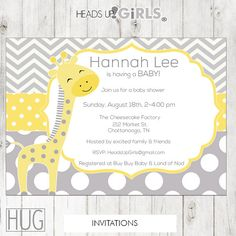 Set of 12 Personalized Yellow Giraffe Baby Shower Invitations in Gray and Yellow Chevrons and Polka Dots by HeadsUpGirls, $18.00