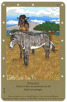 Artemis is actually a zebra! She is short, almost like a pony. On her card, Artemis is depicted standing next to an Elfin Zebroid centaur standing next to her. Bella Sara, Horse Cards, Beautiful Fantasy Art, Angel Cards, Cycling Art, Monster Art, Oracle Cards, Artemis, Infancy