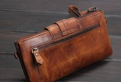 Handmade men long leather wallet clutch men bifold vintage gray brown  | EverHandmade
