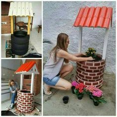 DIY Tire Wishing Well Planters, a unique way to recycle old tires for garden decoration Garden Crafts, Garden Projects, Diy Projects, Backyard Projects, Tire Craft, Tire Garden, Outdoor Projects, Outdoor Decor, Tyres Recycle