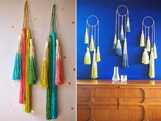 This tutorial is for how to make a spiral macrame wall hanging - gorgeous. I'm also really loving the color on the tassles (is that the right term?)