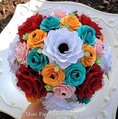Papel Bouquet - Flores de papel - ramo de la boda - ramo de novia - modifique sus colores - Made To Order