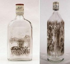 Jim Dingilian is an artist who stretches the limits of creativity with his amazing creations. He uses candle smoke to paint picture-perfect images on the inside of empty bottles. Smoke Painting, Smoke Art, Bottle Art, Amazing Art, Glass Art, Contemporary Art, Art Photography, Sculptures, Artsy