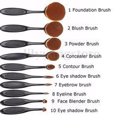 Pro-Oval-Brush-Cosmetic-Cream-Foundation-Powder-Contour-Blush-Makeup-Tool-Set