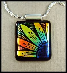 Glorious dichroic glass pendant, hand engraved, by Lyn Owen.