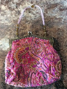 Beaded And Sequined 100% Pure Silk Pink Dressy Handbag/Purse w/Beaded Strap #EveningBag