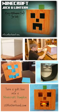 Minecraft pumpkin craft! Make a real life jack-o-lantern.