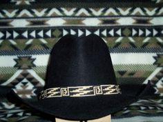 Beaded Hat Band, Native American Inspired Hatband, Black & Bone Loom