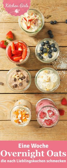 """7 Overnight Oats """"Made in USA"""" - Eine Woche Overnight Oats mit Rezepten, die wie Kuchen schmecken { You are in the right place - Food To Go, Food And Drink, Vegan Overnight Oats, Overnight Porridge, Sweet Recipes, Healthy Recipes, Apple Recipes, Vegetarian Recipes, Oats Recipes"""