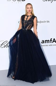 Beauty: Natasha Poly wowed in a navy gown which boasted an intricate bondage inspired bodice - teasing at her cleavage Red Carpet Dresses, Blue Dresses, Navy Gown, Fashion Bible, Natasha Poly, Hollywood Fashion, Hollywood Style, Gowns Of Elegance, Chiffon Gown