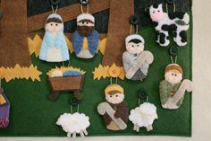 Nativity Advent Calendar PATTERN Instant by thelullabyloft Nativity Ornaments, Nativity Crafts, Christmas Nativity, Christmas Countdown, Family Christmas, Christmas Crafts, Christmas Decorations, Christmas Ornaments, Cowboy Christmas