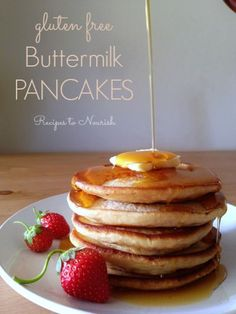 Gluten Free Buttermilk Pancakes ... delicious   fluffy, the perfect breakfast. They freeze well too and reheat fast for school morning breakfasts! Click here for the recipe. | Recipes to Nourish
