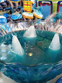 It's All About A Shark Birthday Party FUN! is part of Its All About A Shark Birthday Party Fun - Well here we go lots of pics so beware tomorrow is supposed to be our coldest day yet of the fall and like everything in my li Luau Party, Party Fun, Beach Party, 4th Birthday Parties, 2nd Birthday, Shark Birthday Ideas, Water Birthday, Hawaiian Birthday, Birthday Banners