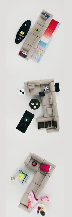 Modern Grey Modular Sofa Black Stand Lamp Glass Table Black Table Living Room Pink Pillow: Modern Sofa Design for our Living Room. Sofa Design, Canapé Design, Interior Design, Vitra Design, Design Ideas, Shape Design, Design Trends, Design Inspiration, Carpet Cleaning Company