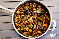 Thai Basil Eggplant - eggplant, green & yellow & red bell pepper, white onion, firm tofu, garlic cloves, basil leaves, vegetable oil, sauce (hoisin sauce, soy sauce, water, chili sauce, corn sauce)