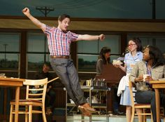 """Christopher Fitzgerald, Kimiko Glenn and Aisha Jackson in a scene from """"Waitress"""" (Photo credit: Joan Marcus) Broadway Theatre, Music Theater, Jessie Mueller, Christy Altomare, Waitress Musical, Silly Songs, Sara Bareilles, Dear Evan Hansen, Les Miserables"""