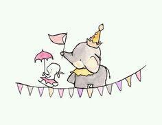 Cuadros infantiles. Dulce imagen. Elefante y conejo de festejo.