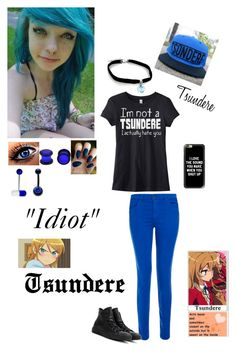 """""""Tsundere"""" by kristina-shadowheart ❤ liked on Polyvore featuring J Brand, Converse, Victoria's Secret, Carolina Glamour Collection and Casetify"""
