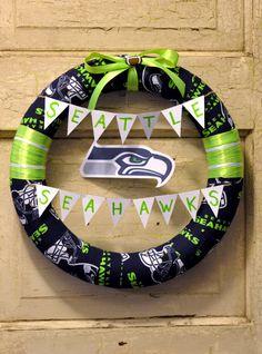 Seattle Seahawks wreath by BlameItOnTheWeather on Etsy